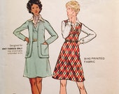 Butterick 6952 Misses' Jumper and Cardigan Jacket Pattern, UNCUT, Size 14, Knit Fabrics Only,Easy,Vintage,1970's, dress,semi fitted cardigan
