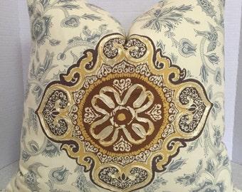 BOTH SIDES 20 x 20 Pillow Cover Iman home Medina Opal brown gold pale blue yellow ribbon