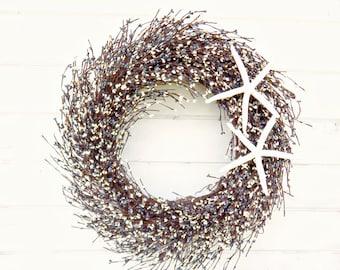 Large COASTAL Wreath-STAR FISH Wreath-Nautical Decor-Blue & White  Wreath-Seashore Wreath-Gift for mom-Coastal Home Decor-Star Fish Decor