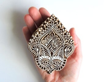 Hand Carved Paisley Stamp, Handmade Indian Printing Block, Large Wood Block Stamp, Floral Wooden Textile Clay Pottery Ceramic Stamp, India