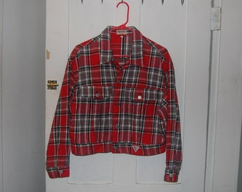 90s Vintage Guess Plaid Flannel Jacket Red Black Grey White Gray Size Large Crop Coat Grunge