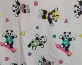 Reserved - Vintage Retro Spumoni Pink Panda Bears Knit Fabric in a Workout Theme Print - 80s early 90s -  1 1/2 yards. Sweater Material