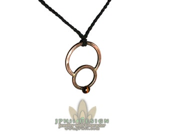 Forged and Hammered Copper Double Circle Necklace With Custom Stone!
