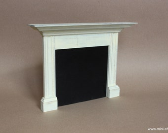 1/6 scale Fireplace Mantel Shabby White Wood Cottage room miniature furniture for playscale doll Blythe, Pullip, Obitsu, Barbie, BJD, Momoko