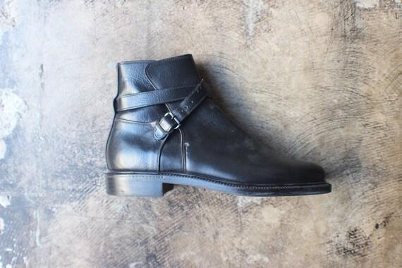 10 D Men's Ankle Boots / Vintage Black Leather Buckle Boots / Men's Dress Shoes