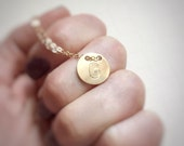 Personalized Gold Initial Necklace 14k Gold Filled Button Simple Letter Layering Jewelry