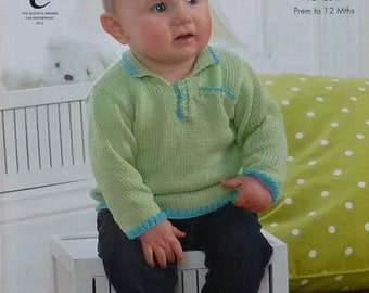 Baby Knitting Pattern K4190 Baby's Long Sleeve Button Neck Jumper with Collar Knitting Pattern DK (Light Worsted) King Cole