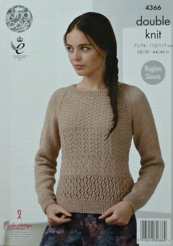 Womens Knitting Pattern K4366 Ladies Long Raglan Sleeve Lacy