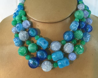 Mid-Century 3 Strands Layered Necklace with Chunky Lucite Beads Blues and Spring Green, Stamped W Germany on  J-Clasp, 16 Inches