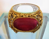 Vintage Matson 22K Gold Plated Jewelry Casket Roses Oval Windows Beveled Glass Footed Storage