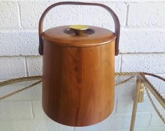 Vintage Walnut Ice Bucket Staved Wood by Vermillion Mid Century Barware Re-Purpose Storage