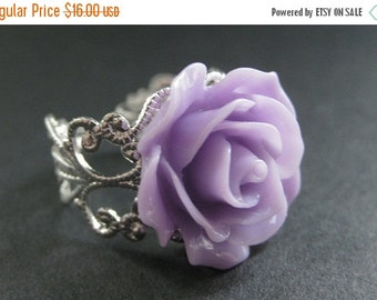 VALENTINE SALE Purple Rose Ring. Purple Flower Ring. Filigree Ring. Adjustable Ring. Flower Jewelry. Handmade Jewelry.
