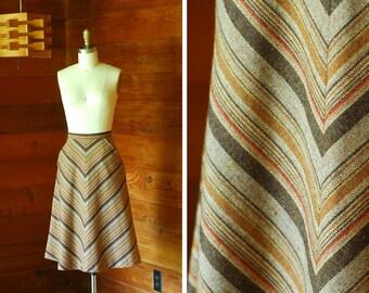 vintage 1970s wool chevron stripe skirt / size xs