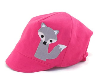 SALE*** Pink Fox Hat, Organic Pink Cotton, Silver Fox Hat, Wee Dee Hat, Woodland, Reversible, Baby Toddler or Child Hat, XXS