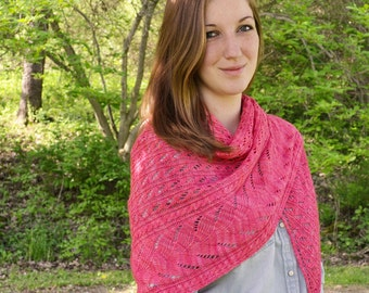 Shawl Knitting PATTERN PDF, Knitted Shawl Pattern,  Summer Shawl - Tulip Lea Shawl
