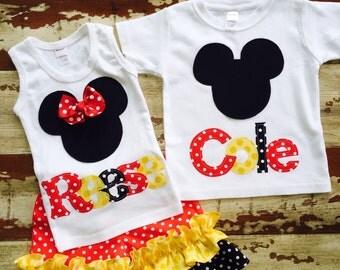 Disney Sibling Set - includes Girls Tank or Shirt short set and Boy Shirt...0-3m to 12yrs