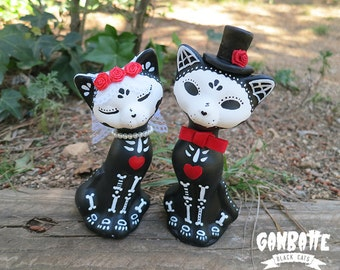 Wedding Cake Cats couple figurines Cat Sculpture just married Handmade Unique Skull Day of the Dead wedding gift Valentine's