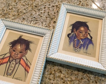 2 Vintage native american wood framed print gerda christoffersen