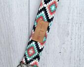 Kilim key fob. Mint, gray, navy, coral and white wrist strap key chain. Southwest pattern fabric wristlet key chain.