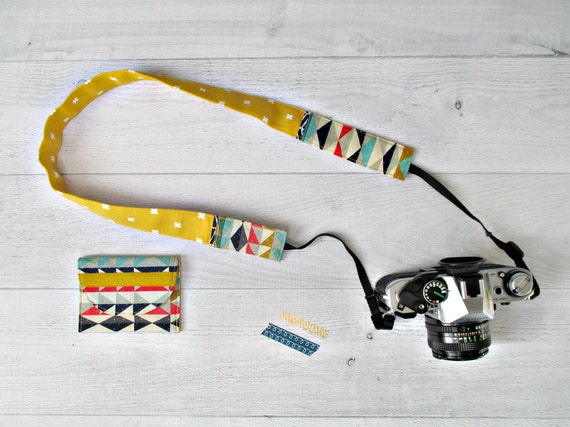 Skinny Camera Strap and Memory Card Case Set. Gold DSLR Strap with Memory Card Wallet. Photographer Gift. Gift for Her.