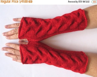 "Deep Red fingerless gloves 10"" arm warmers mittens, Acrylic"