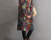 Cotton Print Long pullover dress women spring dress