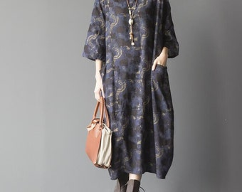 women Cotton and linen oversized loose dress Comfortable maternity dress