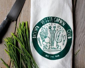 Flour Sack Tea Towel - Backyard Garden Club  - Hand Printed Original illustration