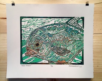 ORIGINAL Permit  fly fishing artwork reduction linocut print by Jonathan Marquardt of BadAxeDesign