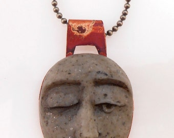 Hand Carved Granite Polymer Face in Copper Pendant
