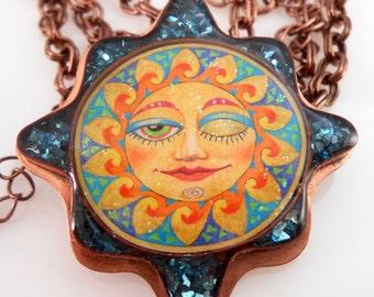 Copper Bezel Resin Sun Necklace