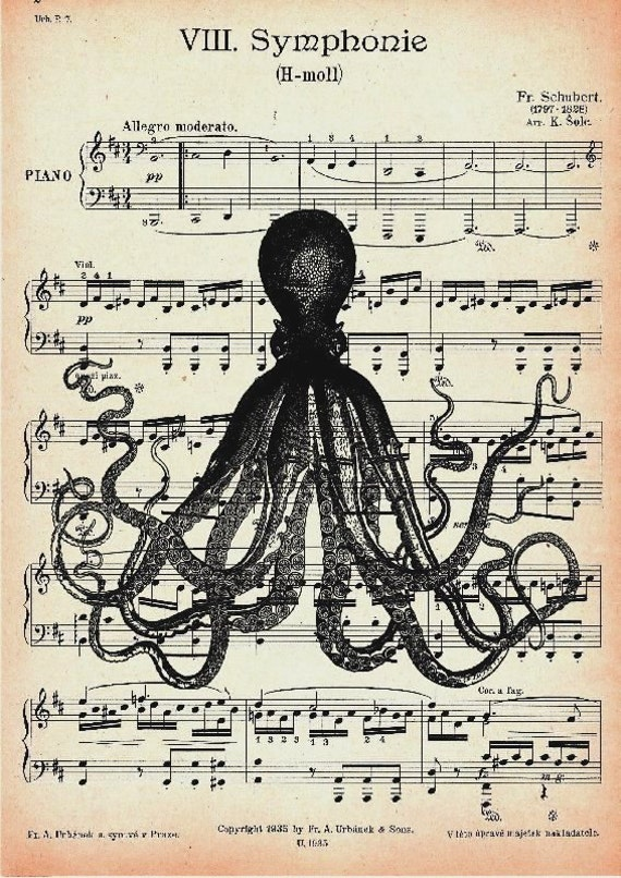 MUSIC OCTOPUS retro 9, original ARTWORK, giclee print, art poster, wall decor, illustration, Octopus, Nautical
