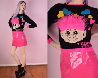 90s Deadstock Trolls Sweater/ XS-Small/ 1990s/ Vintage/ Troll Dolls/ Kawaii/ Rave/ Clubkid/ Novelty