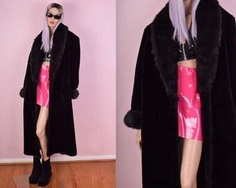 80 Black Faux Fur Coat/ One size/ 1980s/ Plush/ Shaggy Trim/ Jacket