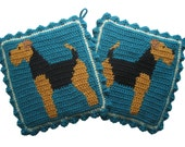 Welsh Terrier Pot Holders. Teal, crochet and knit potholders with Airedale terriers. Dog decor. Lakeland terrier. Dog kitchen decor.