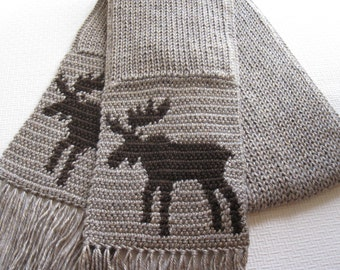 Knitted Moose Scarf. Neutral color, unisex scarf with bull moose silhouettes. Knit wildlife scarves.