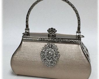 Wedding clutch, Champagne Bridal clutch,pearl crystal clutch, vintage inspired bridal evening bag, bridesmaid clutch, formal clutch