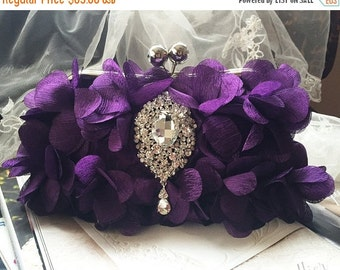Wedding clutch, formal evening bag,  evening clutch, vintage inspired clutch, Purple ruffle clutch, crystal brooch party clutch