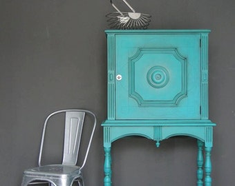 "SOLD***   Smaller Size Closed China Cabinet, Storage, Cupboard aqua teal turquoise, ""Turquoise Locker"" Modern Vintage"