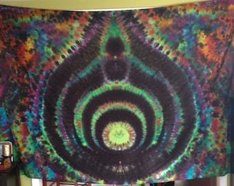 "Bassnectar Tiedye Tapestry Handmade 66"" x 96"""