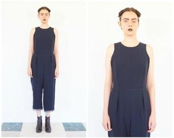 90s Minimal Sleeveless Pleated Pants Romper / Formal Jumpsuit
