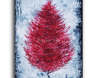 red painting abstract painting acrylic painting large canvas oil home office interior decor palette knife grey red grey blue Art Visi