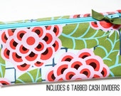 Cash budget envelope, 6 category dividers | pink, blue, green, floral, laminated cotton
