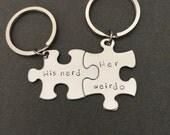 His Nerd Her Weirdo keychains, Geek Gift, Geek Boyfriend Girlfriend Gift, personalized puzzle keychains, couples keychains, couples gift,