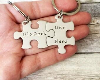 Boyfriend Gift, His Dork Her Nerd Keychains, Couples Keychain, Geekery, Girlfriend Gift, Anniversary Gift, Puzzle Keychains, Gift Idea