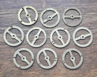 Vintage brass Soviet alarm clock wheels, parts to use in your artwork.