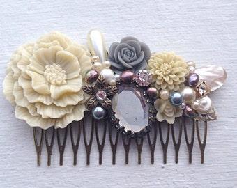 Hair Comb/Floral Hair Piece/Floral Comb/Bridal Hair Comb/Bridesmaid Gift/Wedding Hair Comb/Gray Hair Comb/Grey Bridal Comb/Cream Hair Comb