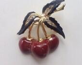 Cherries Jubilee- vintage rhinestone cherry brooch