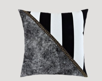 "Decorative Pillow Case, Thick Cotton fabric Throw pillow case with Black White Gold accent, fits 18"" x 18"" insert, Toss pillow case."