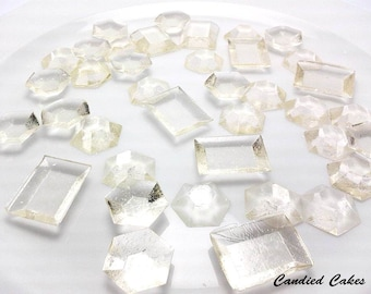 250 CLEAR EDIBLE SUGAR Jewels - Featured in Brides Magazine - Please read the listing